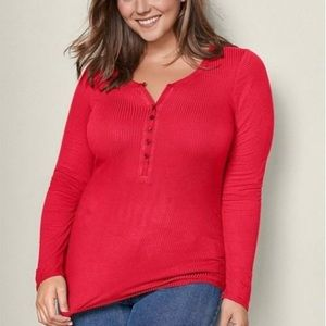 SO Red Fitted Ribbed Long Sleeve Henley Shirt